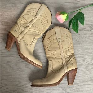 Frye worn in heeled tan cowboy boots